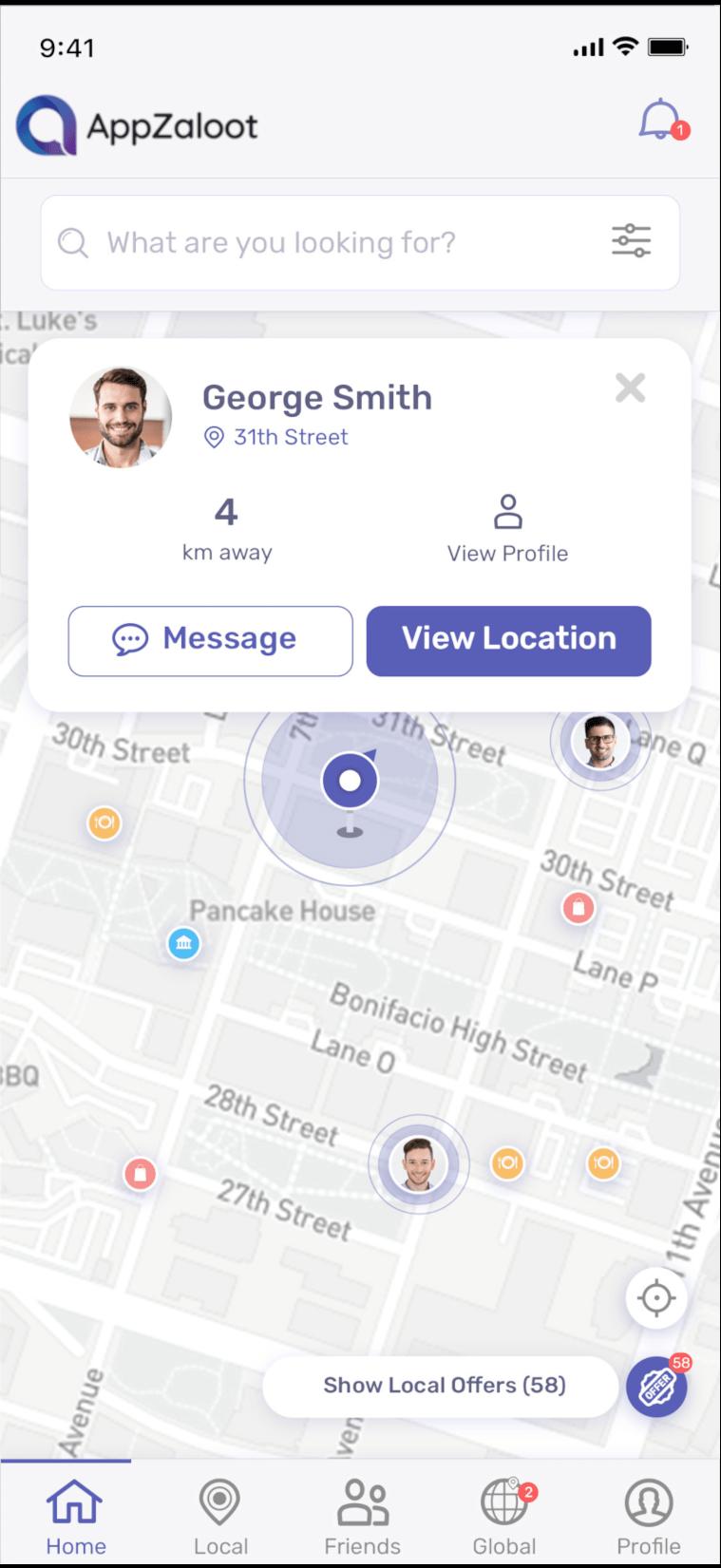 Find friend screen